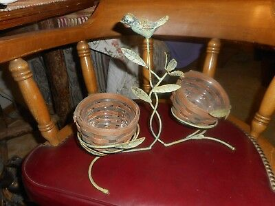 Vintage Longaberger Wrought Iron Bird Nest With Two Baskets Bird Sits Up On Tree