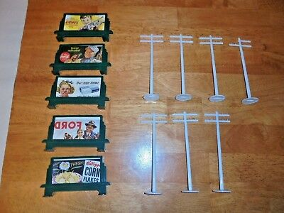 Lionel Plasticville Rare White Telephone Poles With Billboard Signs