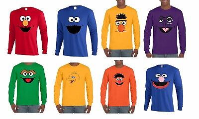 Sesame Street Faces Long Sleeve T-Shirt Elmo,cookie,big Bird,oscar,grover & More