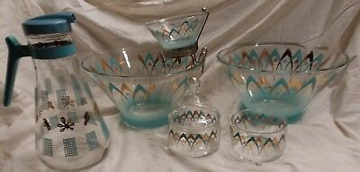 Vintage Atomic Turquoise Gold Anchor Hocking Modern Chip & Dip Bowl Pitcher Lot