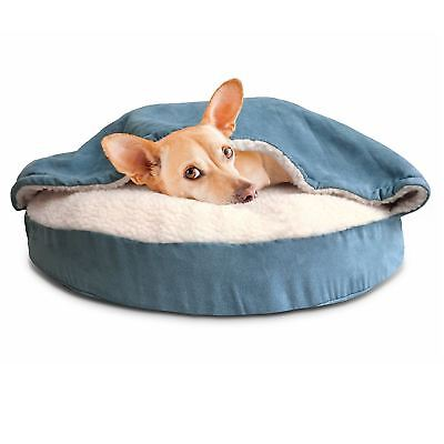 Fur Haven 95308035 Round Snuggery Burrow Pet Bed, Blue, 26""