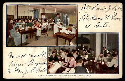 Mayfairstamps Missouri 1907 LUNCH ROOMS INLAND TYPE FOUNDRY ST LOUIS VIEWS COLOR