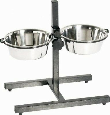 Indipets 800050 Adjustable Double Diner with 2 Stainless Steel 5-Quart Bowls