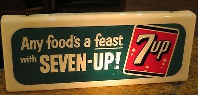 7up LIGHTED Advertising SIGN electric SEVEN UP old vintage store shop display !!