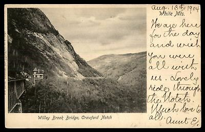 Mayfairstamps New Hampshire 1904 WILLEY BROOK BRIDGE CRAWFORD NOTCH & WHITE MOUN
