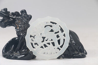 100% natural  white jade exquisite chinese carving flower statue x281