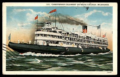 Mayfairstamps SHIP 1925 SS CHRISTOPHER COLUMBUS CHICAGO AND MILWAUKEE COLORED PO