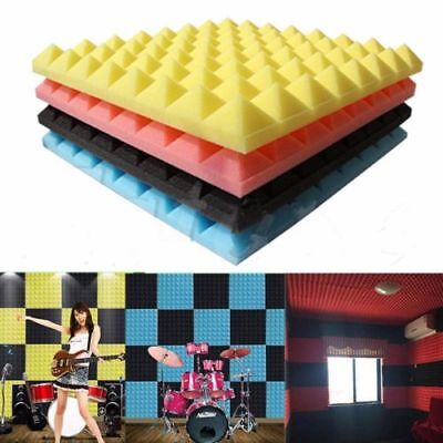 Red Home Soundproof Sound Stop Absorption Pyramid Studio Foam Sponge Board Tools