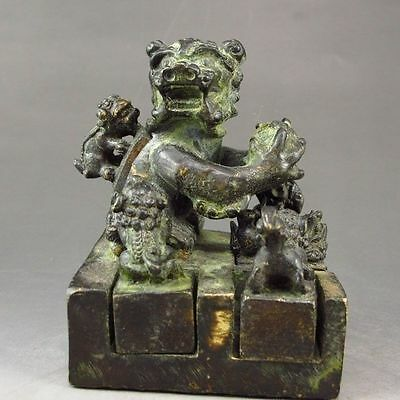 A Set Six Pieces Chinese Bronze Foo Dog Seals / Stamps gd6266