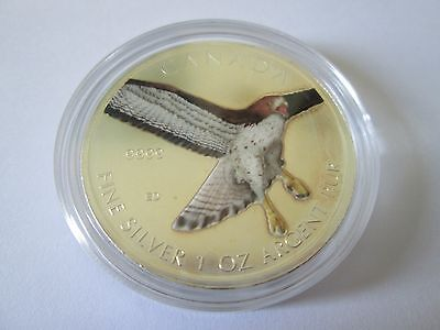 $5 2015 Birds of Prey of Canada -1 oz Colored Silver Maple Leaf  Red Tailed Hawk