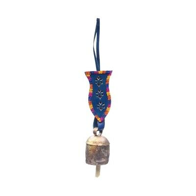 Handmade Embellished Leather Holiday Christmas Tree Bell Ornament Decor Blue -