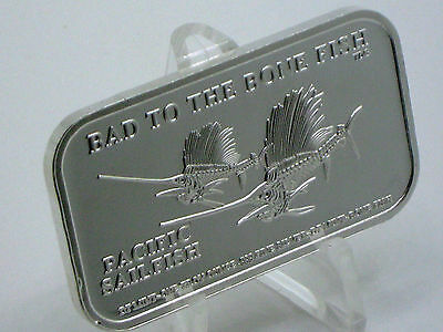 Pacific Sailfish ~ Bad To The Bone Fish ~ Dt Mint ~ Only 40 Silver Art Bars Made