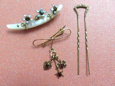 Antique Jewelry Lot MOP Enamel Gold Plated PINS + HAIRPIN Victorian Edwardian ++