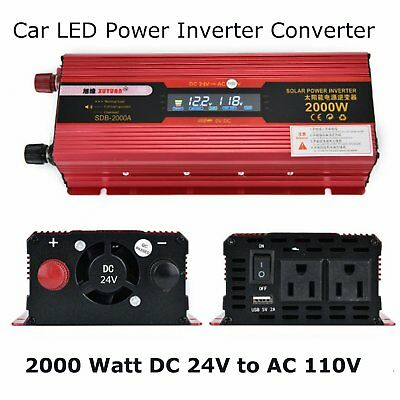 Car Solar Power Inverter 2000W DC 12V 24V To AC 110V USB LED Display Converter