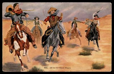 Mayfairstamps WESTERN  WESTERN OFF FOR THE CHUCK WAGON SCENE COLORED POSTCARD