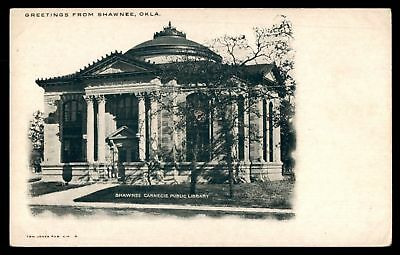 Mayfairstamps OKLAHOMA  GREETINGS FROM SHAWNEE OK CARNEGIE PUBLIC LIBRARY FRONT