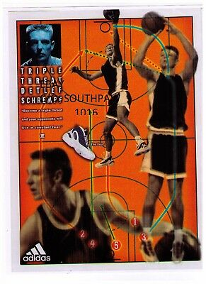 """1995 Adidas """"Detlef Schrempf"""" The Four Basketball Shoe Reproduction Print Ad"""