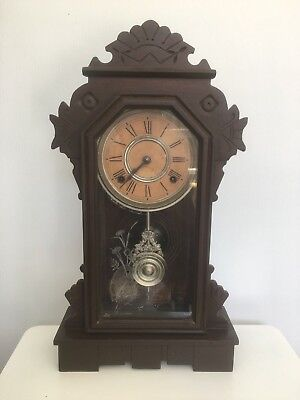"Ansonia Clock Co. ""Alaska"" Walnut Shelf Clock"