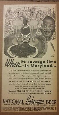 1941 National Bohemian Beer Ad When its sausage time in Maryland