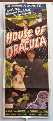 1950 HOUSE OF DRACULA 14x36 Insert Poster Realart Rerelease WOLFMAN CARRADINE