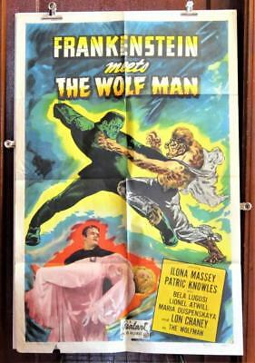 FRANKENSTEIN MEETS THE WOLFMAN Realart rr 1-Sheet Poster LUGOSI  CHANEY MONSTER