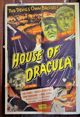 1950 HOUSE OF DRACULA One-Sheet Poster Realart Rerelease WOLFMAN FRANKENSTEIN
