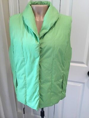 Coldwater Creek Size Large REAL down vest, snap front, pockets, Lime Green, EUC