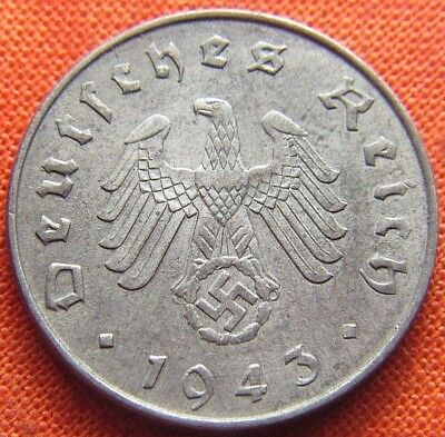 Ww2 German 1943 - A 10 Reichspfennig 3Rd Reich Zinc Nazi Germany Coin (Rl2069)