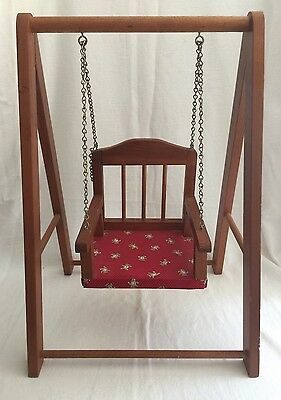 "Vintage Wooden Doll Swing for dolls up to 18"" tall"
