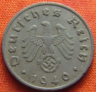 Ww2 German 1940 - F 10 Reichspfennig 3Rd Reich Zinc Nazi Germany Coin (Rl2070)