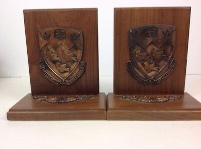 Vintage Wood And Bronze Mcgill University Bookends Book Ends