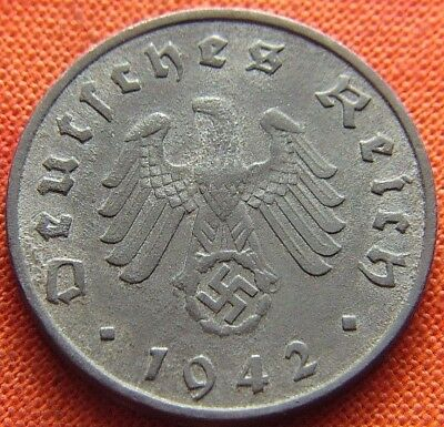 Ww2 German 1942 - F 10 Reichspfennig 3Rd Reich Zinc Nazi Germany Coin (Rl2071)