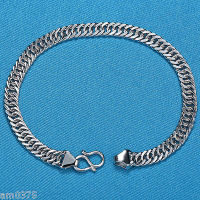 "NEW GIFT PURE Platinum 950 Bracelet MEN 5mmW Elegant Curb LINK Lucky Chain 7.1""L"