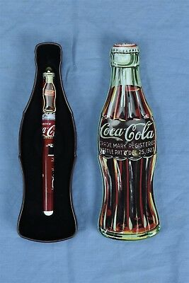 1996 COCA COLA CERAMIC ROLLER BALL PEN w COLLECTIBLE BOTTLE SHAPE GIFT TIN 04186
