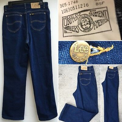 """Vintage Lee Riders Jeans High Waist Made In USA Sz 14 30"""" Waist Up To 31"""""""