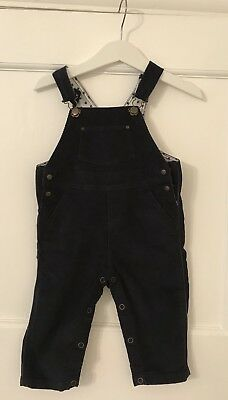 Petit Bateau Navy Baby Dungarees, Age 6 Months