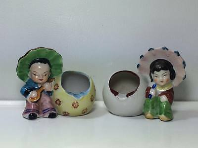 Vintage Japanese ceramic male and female ashtrays