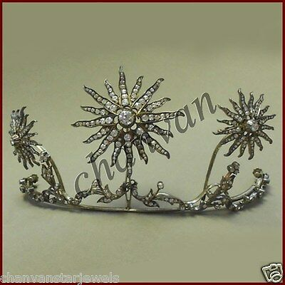 Pave Vintage Repro. Tiara Royal Rose Cut Round Diamond 925 Silver Crown CSJ2117