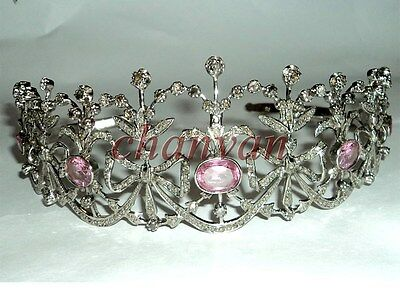 Royal Victorian INSP 10.35CT Rose Cut Diamond 925 Silver Ruby Tiara Crown @CSJ22