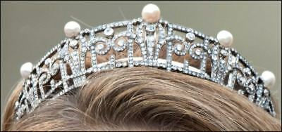 Royal Vintage Inspire Rose Cut Diamond Sterling Silver Pearl Wedding Tiara Crown