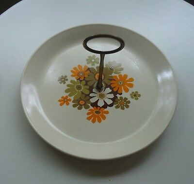 Vintage Johnson of Australia Cake Plate with Bronze Handle *Paradise *Daisies