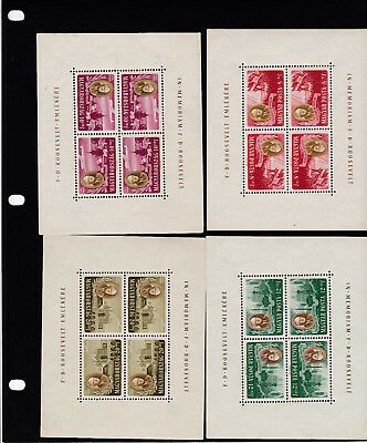 Hungary 1947 Rooseveldt set in sheets of 4 Tete Beche MH*- some creasing