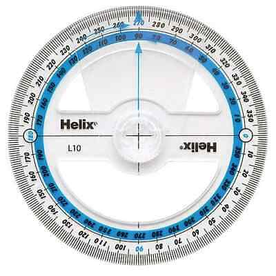 HELIX 360 Degree 10cm PROTRACTOR / ROTATING ANGLE MEASURE Clear School Exam L10