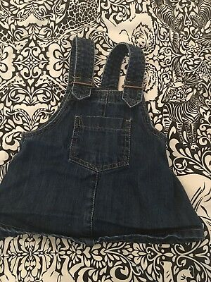 Next Baby Girl Denim Pinafore Dungaree Dress 3-6 Months