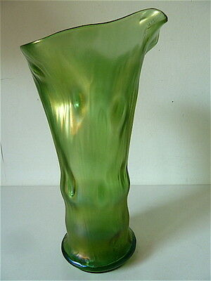 VASE Trunk Tree GLASS RAINBOW PEACKOCK KRALIK AUSTRIA JUGENDSTIL NEW ART 1900