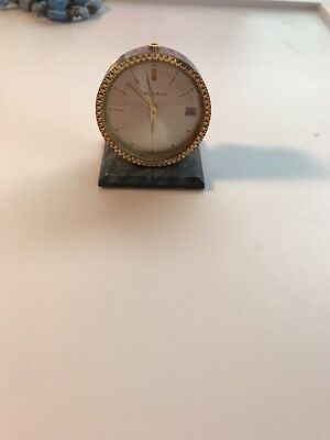 EXCELLENT ENAMEL Antique Caravelle Wind-Up Clock Swiss Made AS-IS