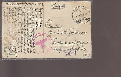 Military Postcard Feildpost Cover Wwii  (100)
