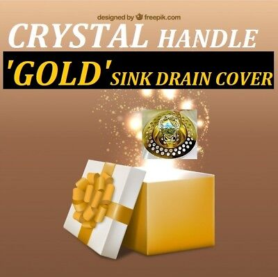 GOLD* Sink Plughole Covers CRYSTAL HANDLED ! ~ Bathroom ~ Sink ~ NEW !