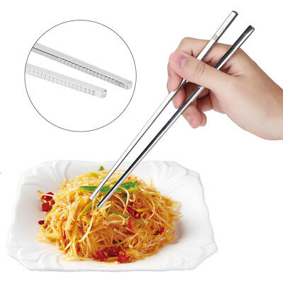 Solid Flat Stainless Steel Korean Chopsticks Kitchen Tableware Dinnerware Gift S