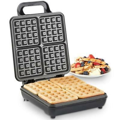 Quad BELGIAN WAFFLE MAKER Easy Clean Non-Stick Plate Cool Touch Handle Compact